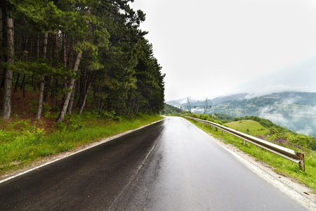 rainy day: Landscape with a wet road in a rainy day in mountains