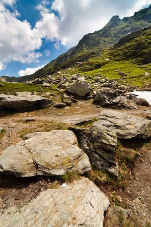 massif: Landscape from the rocky Fagaras mountains in Romania in the summer