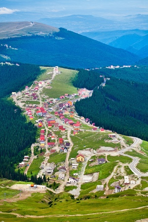 Aerial view of Ranca town and resort in Parang mountains, Romania photo