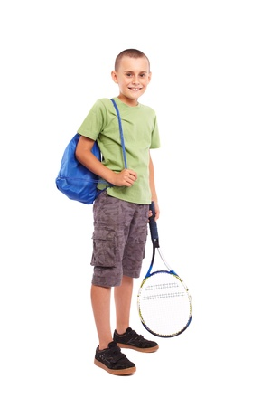 raquet: Child with a field tennis raquet and a backpack, studio full length portrait