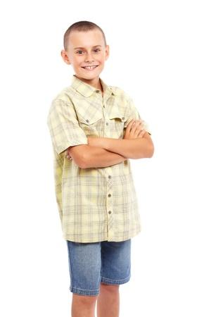 preteen boy: Closeup portrait d'un enfant caucasien isol� sur fond blanc Banque d'images