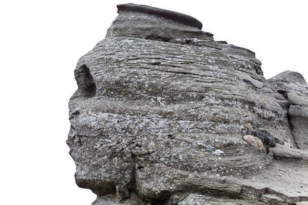 현상: Romanian Sphinx, geological phenomenon formed through erosion, isolated on white 스톡 사진