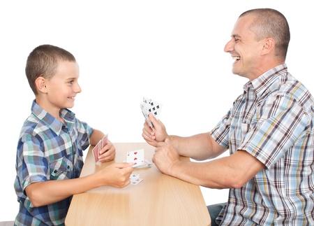 jeu de carte: Père et fils de cartes à jouer, isolés sur fond blanc