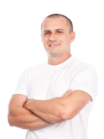 Young man with white t-shirt, isolated on white background photo