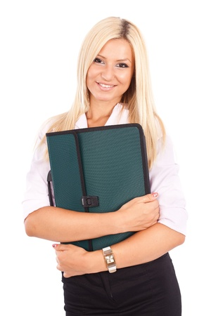 Portrait of a friendly businesswoman holding a briefcase isolated on white background Stock Photo - 10356027