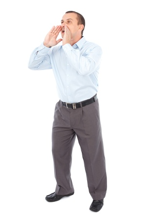 Full length portrait of a businessman yelling, isolated on white background photo