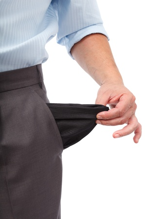 broke: Businessman turning his empty pockets inside out, isolated on white background