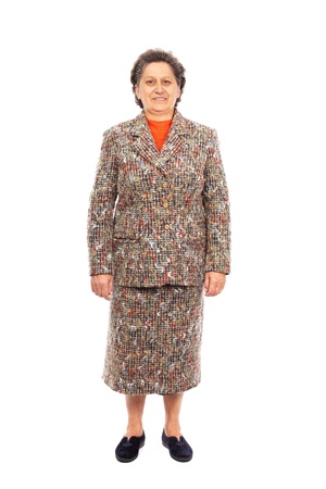 Portrait en pied d'une femme heureuse supérieurs isolé sur fond blanc Banque d'images