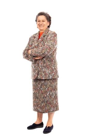 In voller Länge Portrait eines glücklichen ältere Frau auf weißem Hintergrund