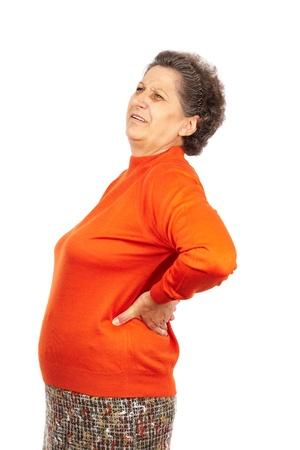 osteoporosis: Superior de la mujer con dolor de espalda fuerte aisladas sobre fondo blanco
