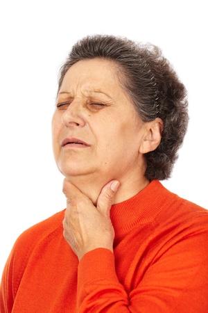 tonsillitis: Old woman with laryngitis isolated on white background Stock Photo