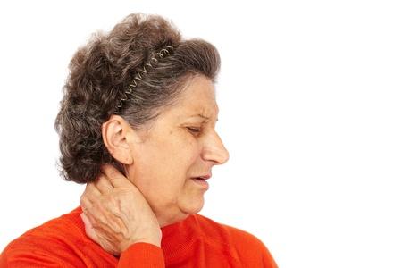 Femme supérieur avec des douleurs au cou dos isolées sur fond blanc