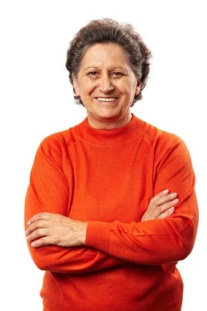 Portrait d'une femme heureuse supérieurs isolé sur fond blanc
