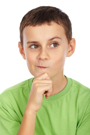 Portrait of a doubtful kid isolated on white background Stock Photo