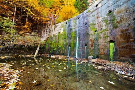 Landscape with a old wall with lichens and water flowing through it photo