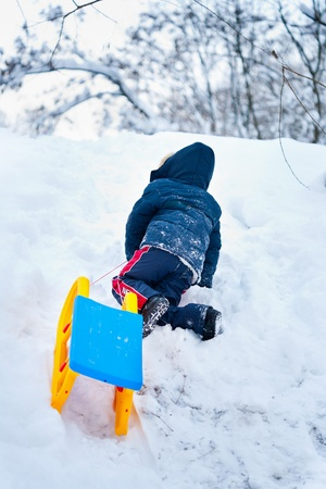 dragging: Little kid carrying a sledge uphill for another ride