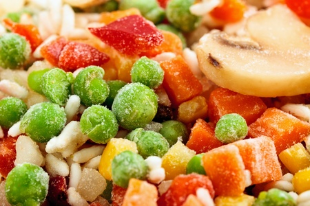 Fridge food - closeup of frozen vegetables photo