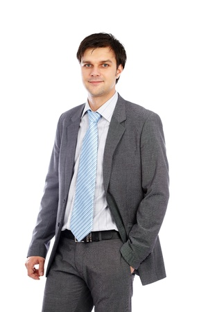 Closeup portrait of a young businessman in suit, isolated on white background photo
