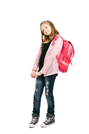 Full length portrait of a cute schoolgirl with schoolbag isolated on white background photo