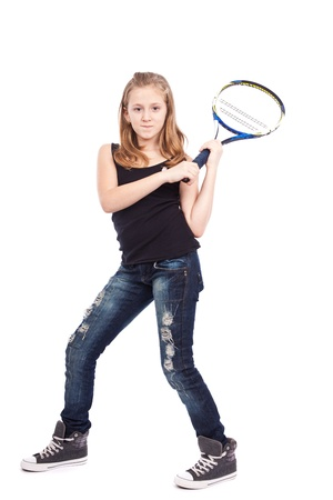 Girl with racket playing tennis isolated on white background photo