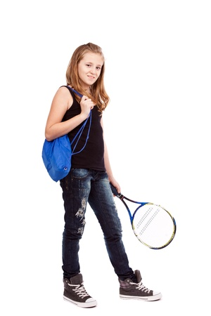 Full length portrait of a girl with tennis racket photo