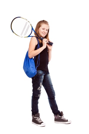 Girl with tennis racket and bag isolated on white background photo