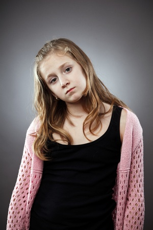 Sad girl studio closeup portrait on gray background photo
