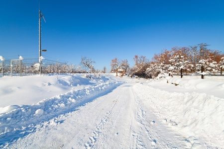 Landscape with a snowy road in countryside photo