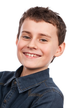 preteen boy: Closeup portrait of a cute boy isolated on white background