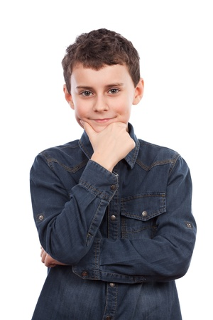 skepticism: Boy with hand on chin, thoughtful. Isolated on white background Stock Photo
