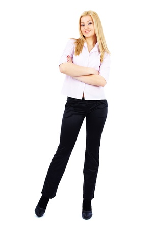 Full length portrait of a young businesswoman isolated on white photo