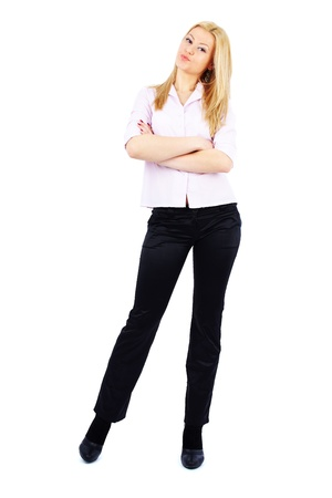 In voller Länge Porträt einer jungen Unternehmerin isoliert auf weiß Standard-Bild