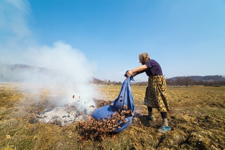 Old rural woman burning fallen leaves, spring cleaning in the garden Stock Photo - 13029836