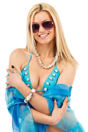 Closeup portrait of a young blond woman in swimsuit and scarf Stock Photo - 13121085