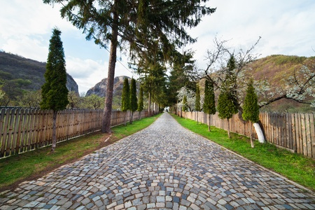 Mountain landscape with stone paved alley, in a spring day Stock Photo - 13237615