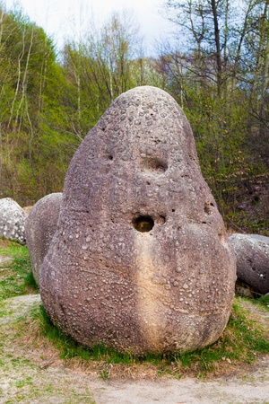 Sedimentary rocks (concretions) in the natural park in Romania Stock Photo - 13237354
