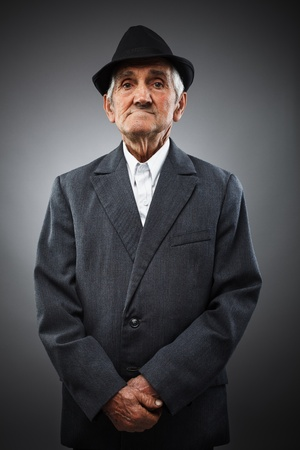 Studio portrait of an expressive old man Stock Photo - 13539365
