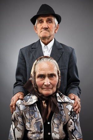 Portrait of an elderly couple in studio