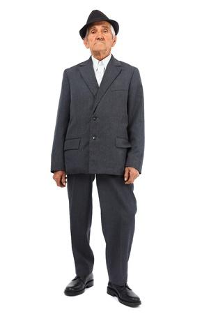 Full length portrait of a senior man isolated on white background photo