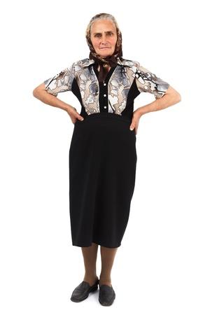 expresion corporal: Retrato de cuerpo entero de un seniorwoman aisladas sobre fondo blanco