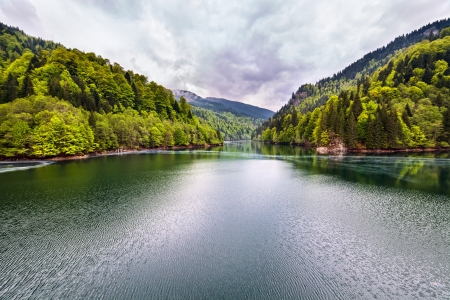 Landscape with a lake in the mountains in a rainy day Stock Photo - 13815060