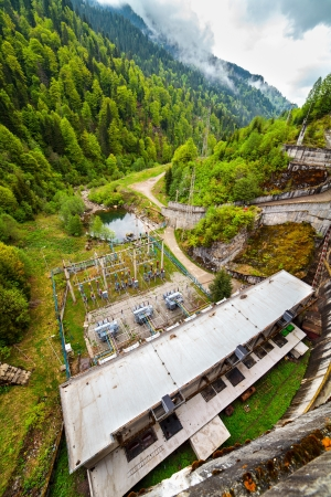 Landscape with a concrete dam in the mountains Stock Photo - 13815201