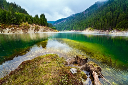 Landscape with a lake in the mountains in a rainy day Stock Photo - 13815059