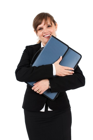 Happy businesswoman holding a briefcase isolated on white Stock Photo - 15609943