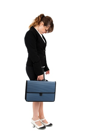Stressed, overworked, frustrated businesswoman isolated on white background photo