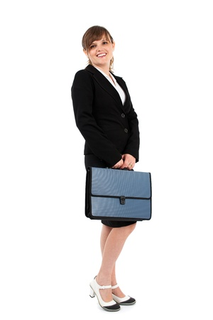 Businesswoman, white collar worker, full length portrait isolated on white Stock Photo - 15609949