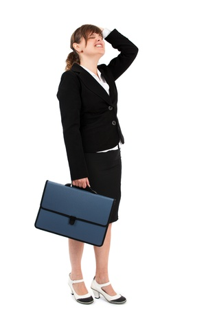 Stressed, overworked, frustrated businesswoman isolated on white background Stock Photo - 15609961