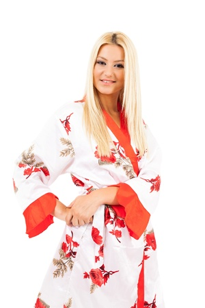 Young caucasian lady in bathrobe over white background Stock Photo - 15609938