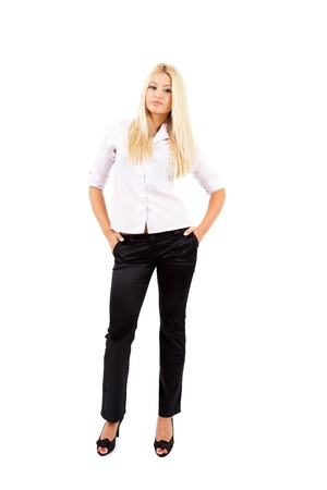 Young blond businesswoman isolated on white background Stock Photo - 15609975