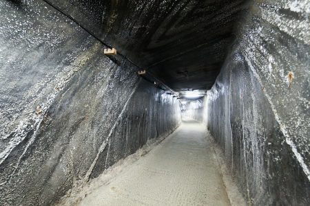 Corridor inside the salt mine from Turda, Romania photo